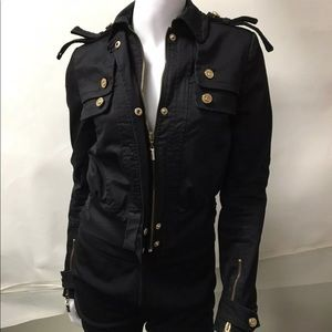 Just Cavalli EUC Black/Gold GIUBBOTTO Jacket  US 2
